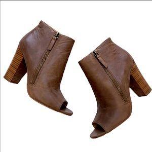 NWOT Levity Peep Toe Leather Ankle Booties Sz 8.5